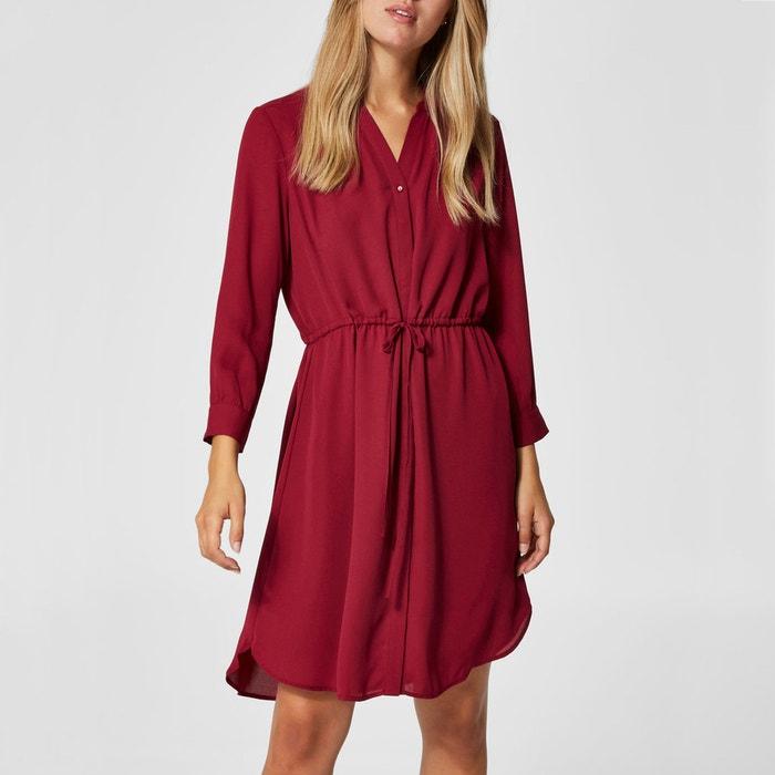 Платье-рубашка с ремешком, V-образный вырез с длинными рукавами