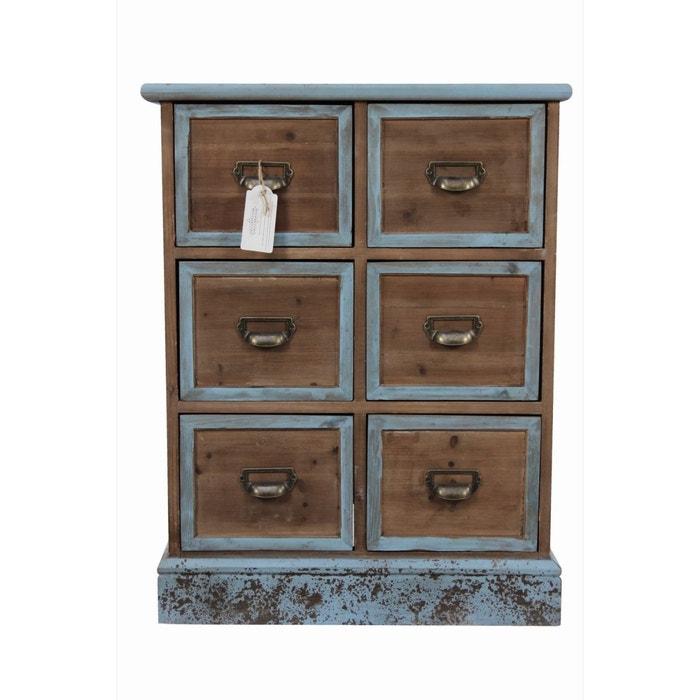 meuble semainier chiffonnier grainetier bois 6 tiroirs bleu vieilli marron. Black Bedroom Furniture Sets. Home Design Ideas