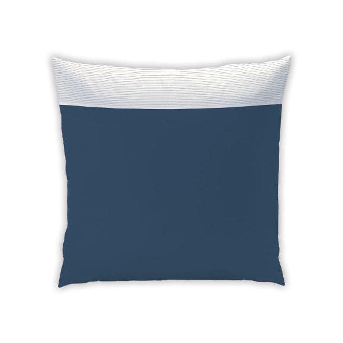 taie d 39 oreiller pliss e 100 coton bleu nuit matt et rose la redoute. Black Bedroom Furniture Sets. Home Design Ideas