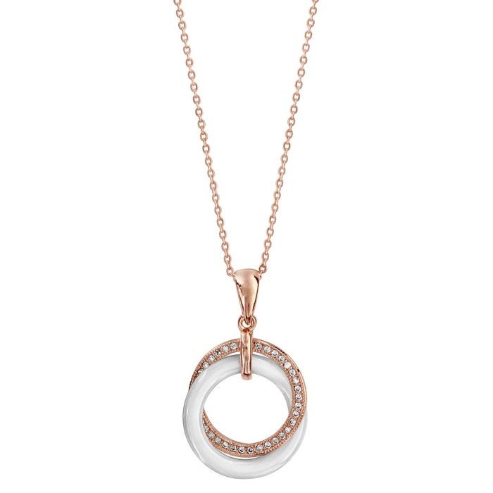 b14ad885b68 Collier réglable  45 à 50 cm pendentif 2 cercles entremêlés céramique  plaqué or doré So Chic Bijoux