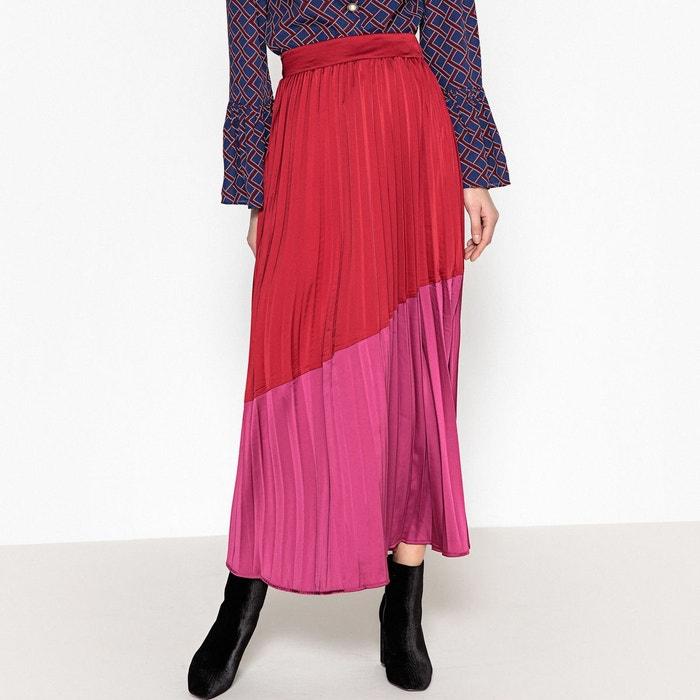 jupe longue pliss e colorblock rouge rose sister jane la redoute. Black Bedroom Furniture Sets. Home Design Ideas