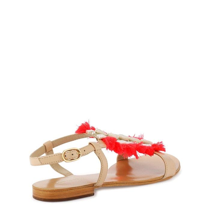 Sandales cuir komea rose/corail Cosmoparis