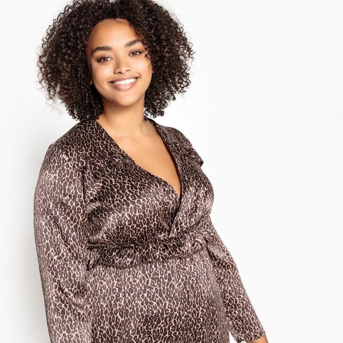 Платье расклешенное в форме каш-кер с леопардовым рисунком