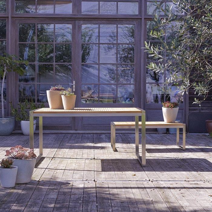Table de jardin en bois de teck et inox 150 arno teck Tikamoon | La ...