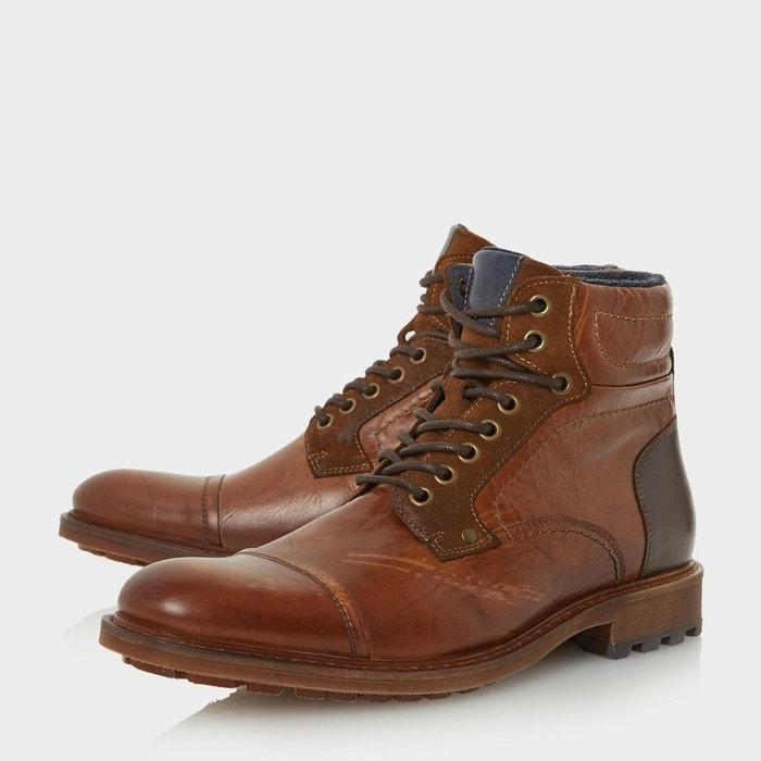 Boots à lacets et bout rapporté - clef marron foncé cuir Bertie