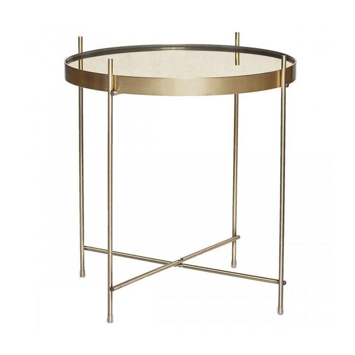Table Basse Ronde en Métal Doré et Miroir Ø43cm ?45cm WADIGA