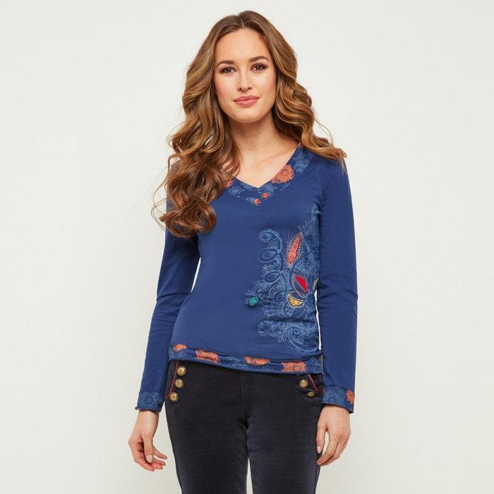 con larga JOE cuello Camiseta estampado de pico BROWNS y flores manga de con AEEBw4q