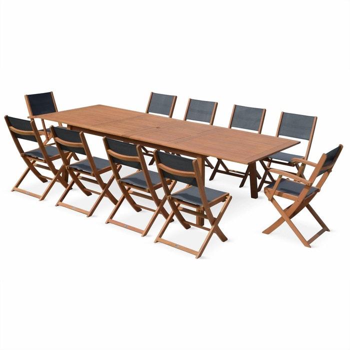 Salon de jardin en bois extensible almeria grande table avec 2 rallonges 2 fauteuils et 8 - Table jardin eucalyptus colombes ...