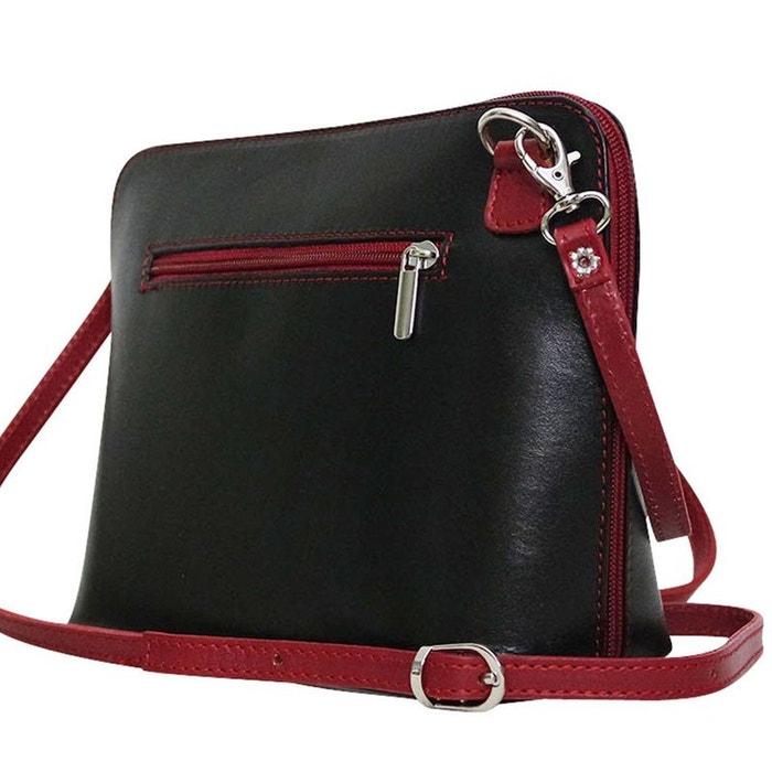 ce6cb2a3fb Sac bandoulière cuir bi color nora roselia noir et rouge Chapeau-Tendance |  La Redoute