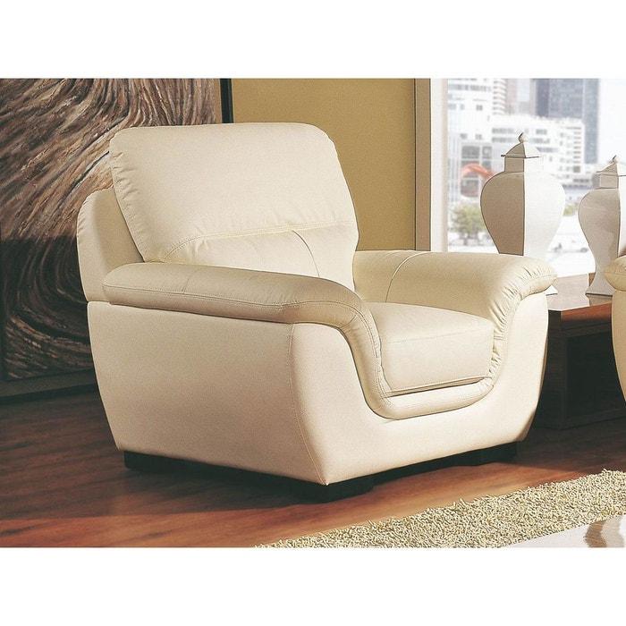 fauteuil cuir kalmia beige la maison du canape la redoute. Black Bedroom Furniture Sets. Home Design Ideas