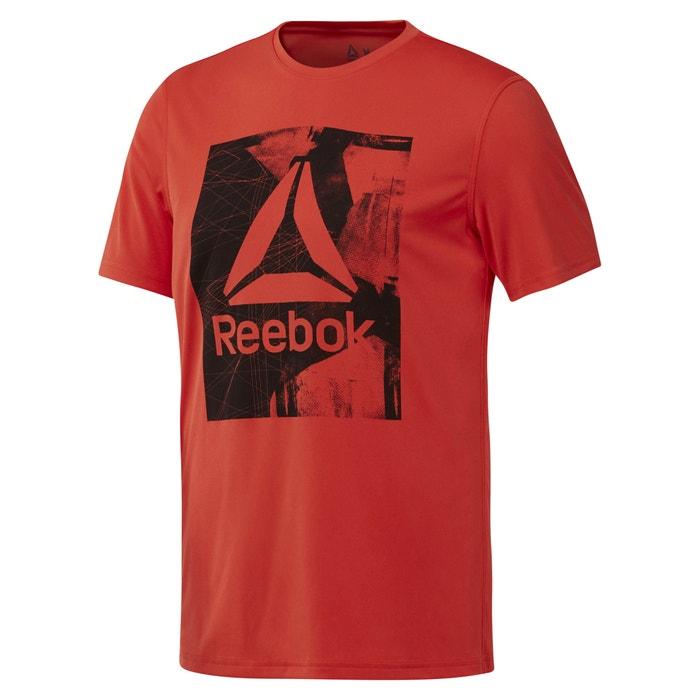 REEBOK estampado manga corta delante y redondo de Camiseta cuello con 4C6nq4wr