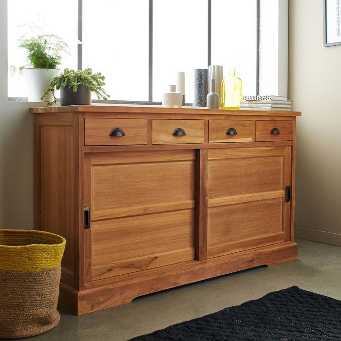Buffet en bois de TECK BRUT QUALITE PREMIUM - 2 portes coulissantes 4 tiroirs BOIS DESSUS BOIS DESSOUS
