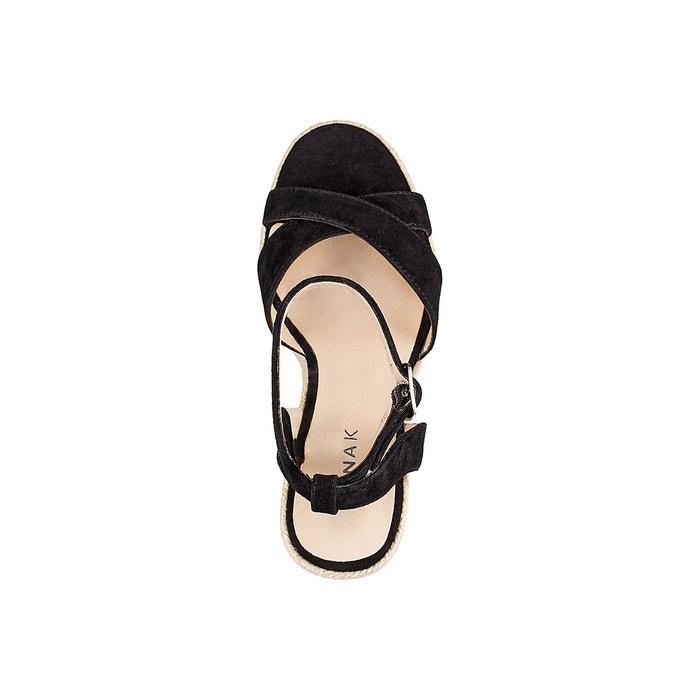 Sandales cuir talon compensé sibel noir Jonak