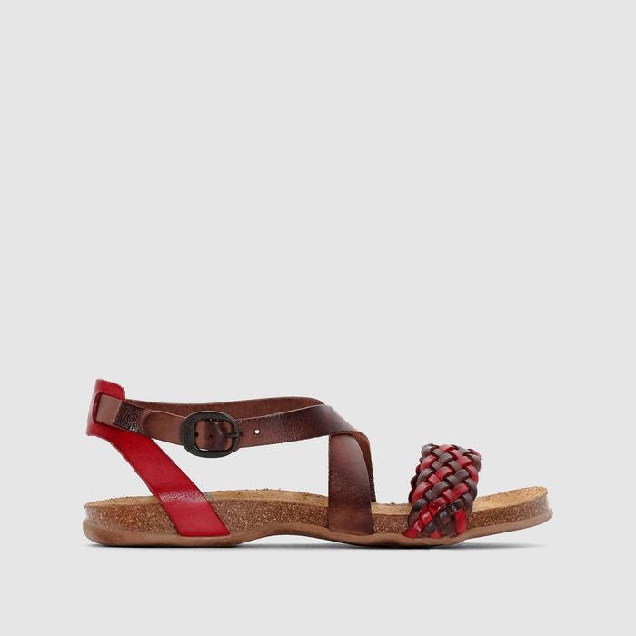 Sandales plates cuir   blanc Kickers   La Redoute