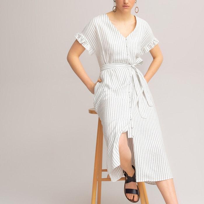 Langes Kleid Streifenmuster Kurze Armel Mit Volants Gestreift Grund Elfenbein La Redoute Collections La Redoute