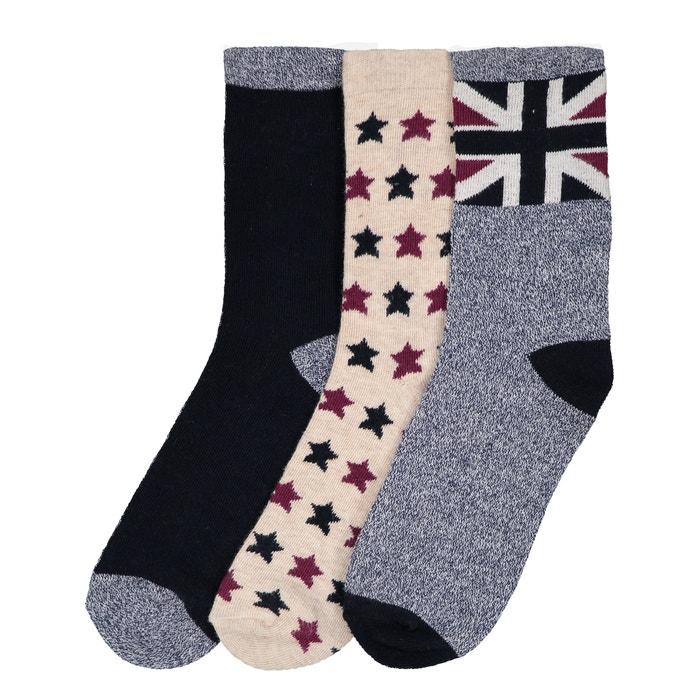 fc3f8294095 Lot de 3 paires de chaussettes hautes 23 26-39 42 La Redoute Collections  multicolore bleu