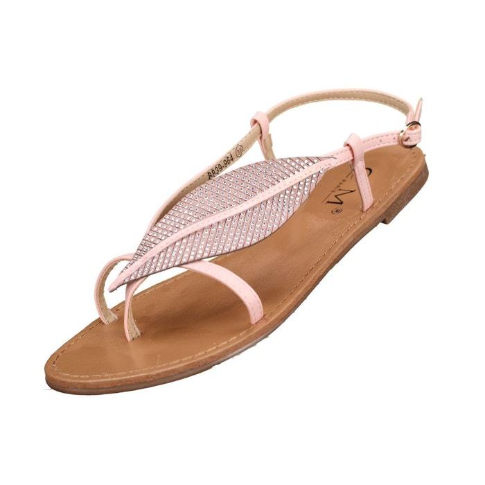 Sandales à détail plume rose Leader Mode