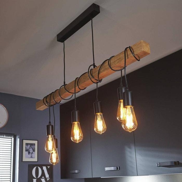 Townshend suspension 6 lumi res bois noir l100cm suspension eglo design - Suspension noire pas cher ...