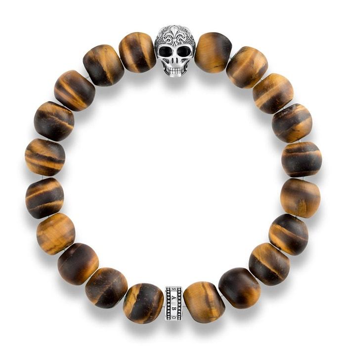 Bracelet power bracelet tête de mort avec lys argenté, marron Thomas Sabo | La Redoute