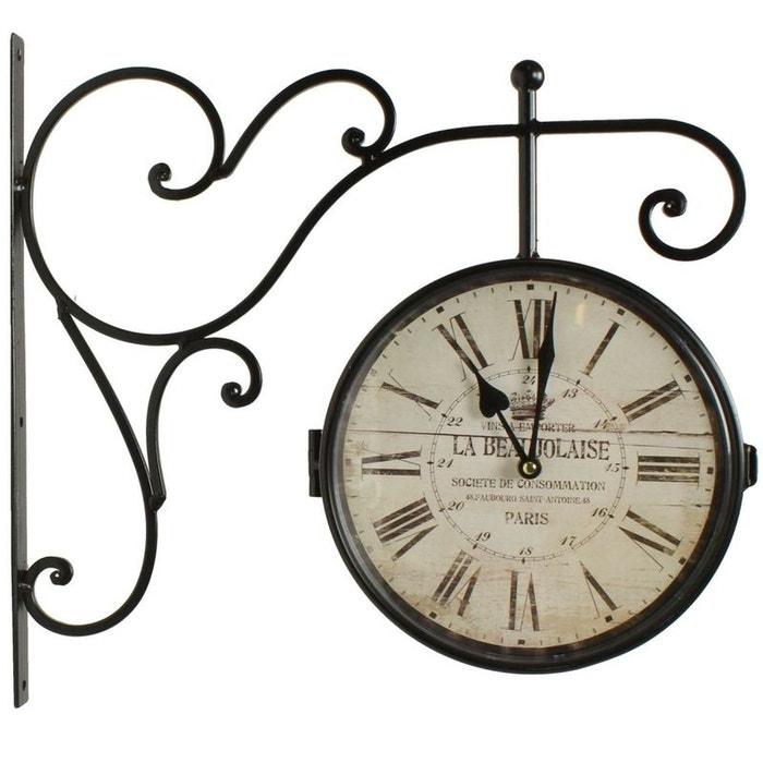 d coration d 39 autrefois horloge de gare ancienne double face la beaujolaise 24cm decoration d. Black Bedroom Furniture Sets. Home Design Ideas