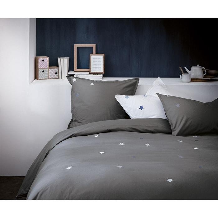 housse de couette brod e 100 coton gris ardoise perle matt et rose la redoute. Black Bedroom Furniture Sets. Home Design Ideas
