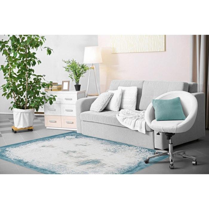 tapis vintage en acrylique bleu pastel avec franges tekke bleu pastel allotapis la redoute. Black Bedroom Furniture Sets. Home Design Ideas