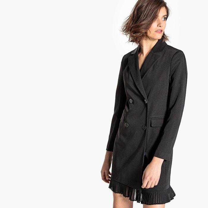 Платье-смокинг с плиссировкой снизу