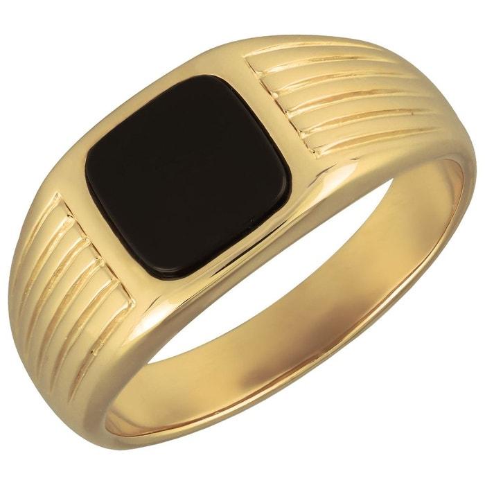 Bague chevalière anneau strillé rond onyx noir plaqué or 750 jaune couleur unique So Chic Bijoux   La Redoute Extrêmement Pas Cher YsvylDoD2X
