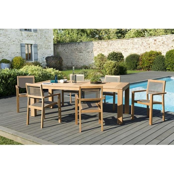 Salon de jardin teck table 220x100 6 fauteuils empilables bergen ref 30020837 bois clair pier for Salon de jardin la redoute