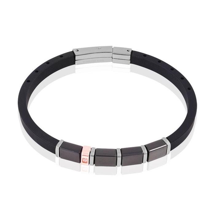 Bracelet acier et caoutchouc noir tricolore Histoire D'or | La Redoute 2018 Nouvelle Ligne Pas Cher MYII3EeFO