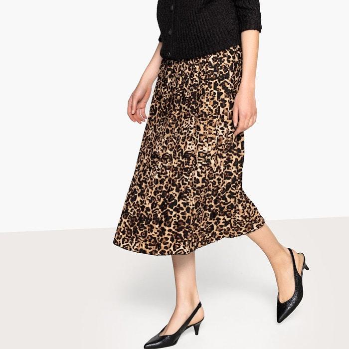 7081d27bf0a49e Jupe plissée imprimée léopard