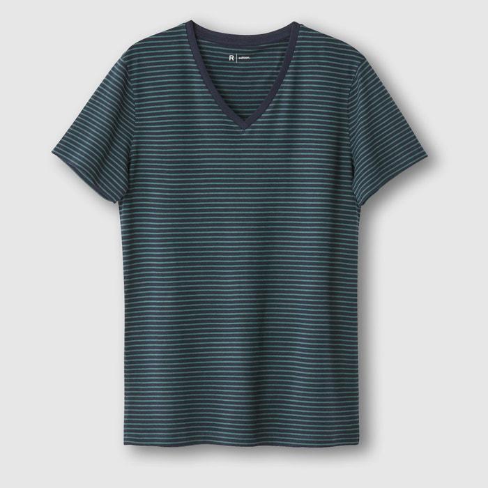 Imagen de Camiseta con cuello de pico a rayas R édition