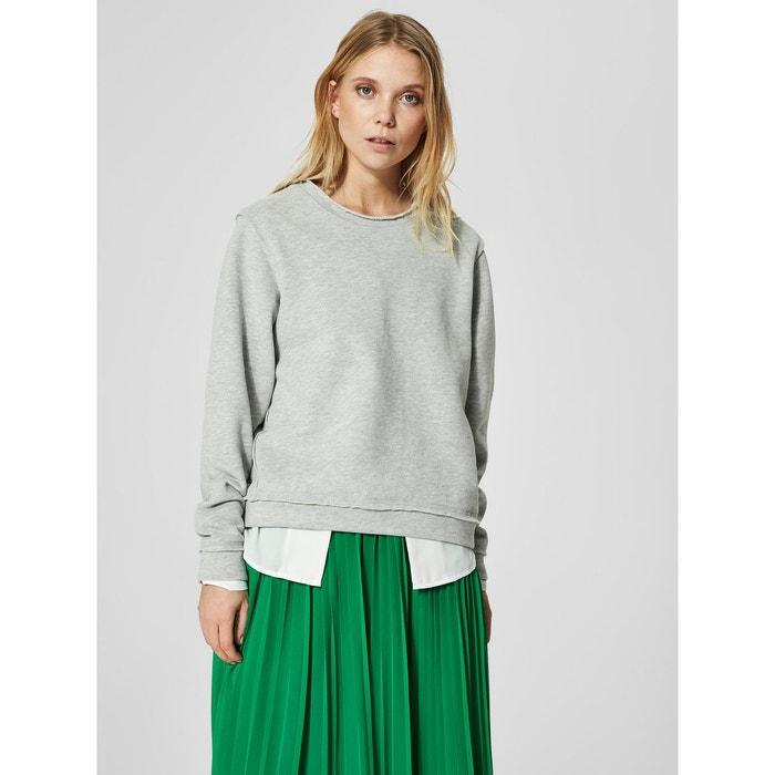 6e53a7fdd4286 Sweat-shirt coupe ample - light grey melange Selected Femme   La Redoute