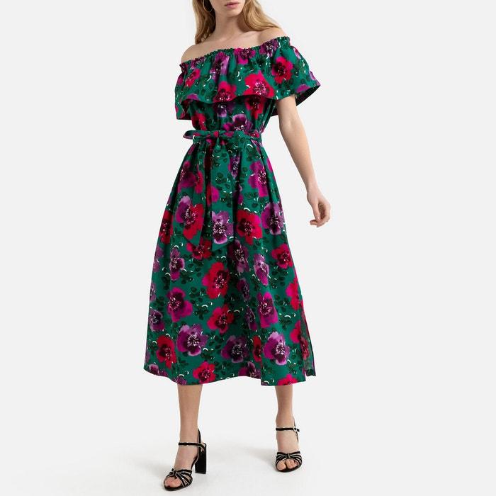 Robe Longue Sans Manches A Volant Imprimee Fleurs La Redoute Collections Imprime Fond Vert La Redoute