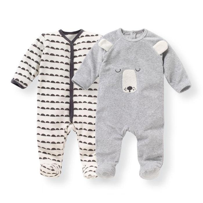 qualité et quantité assurées luxuriant dans la conception profiter du prix le plus bas Lot 2 pyjamas naissance en velours 0 mois - 3 ans
