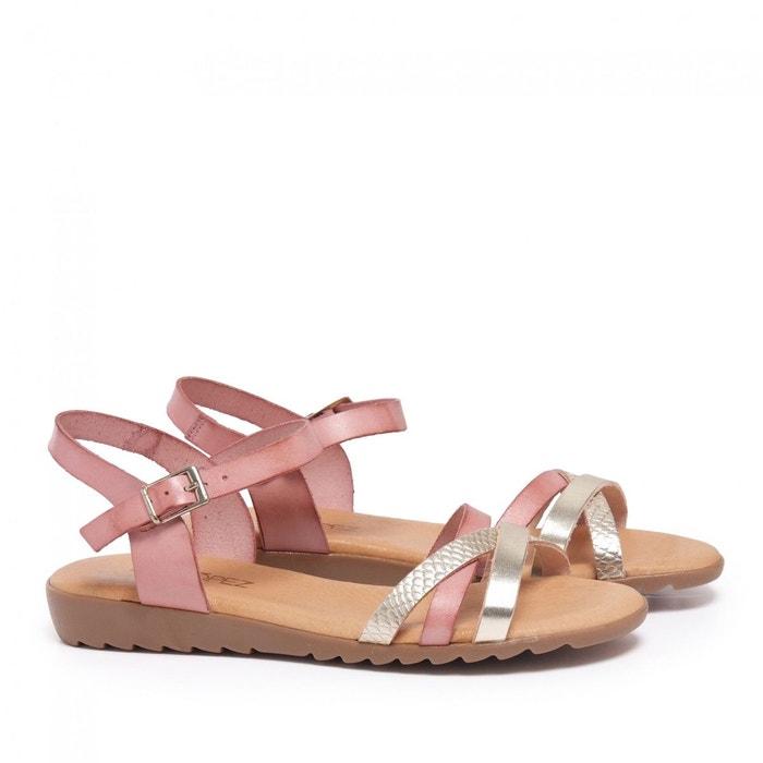 Sandales flip flop cuir bleu Eva Lopez   La Redoute