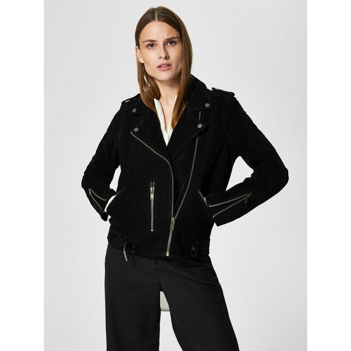 Veste en cuir exclusive - black Selected Femme   La Redoute afa8d1a2453e