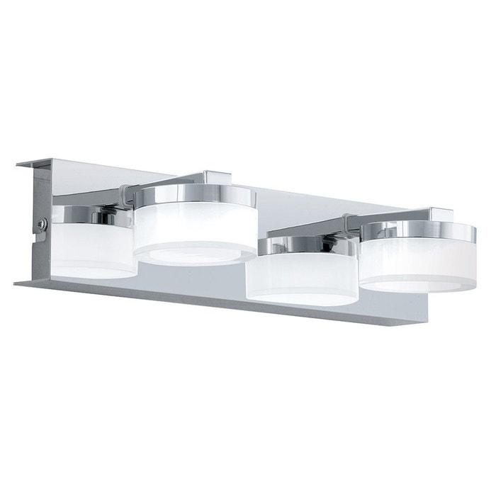 Applique murale salle de bain 2 spots led romendo argentée en métal ...
