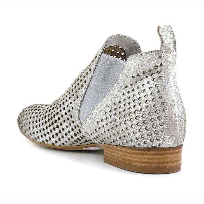 Boots cuir ajouré eb244 argent Cafenoir