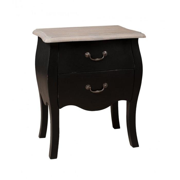 Table de chevet 2 tiroirs noir baroque manguier 50x33x61cm - La redoute table de chevet ...