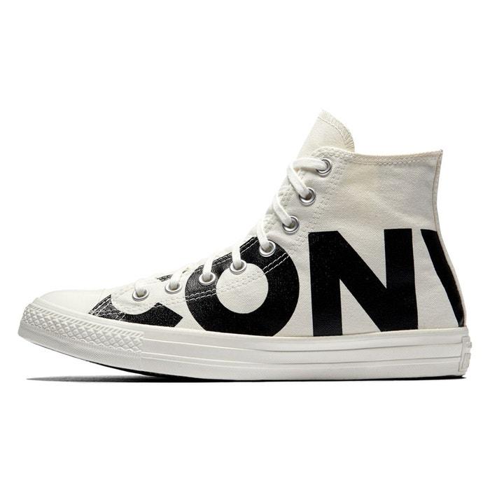 low priced e7bf6 67f21 ... Baskets montantes ctas hi wordmark blanc noir Converse ...
