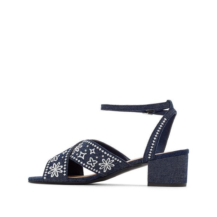 Sandales denim fleurs brodées denim bleu Mademoiselle R
