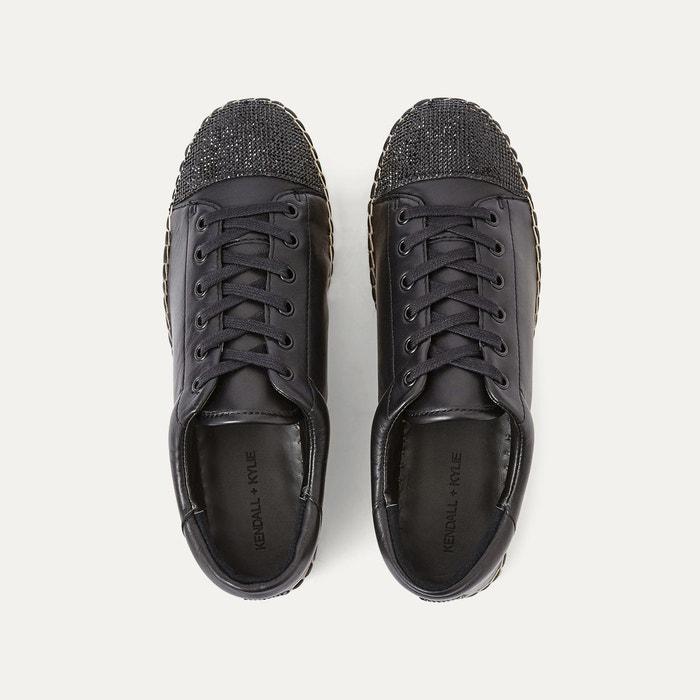 Baskets cuir noir Kendall + Kylie
