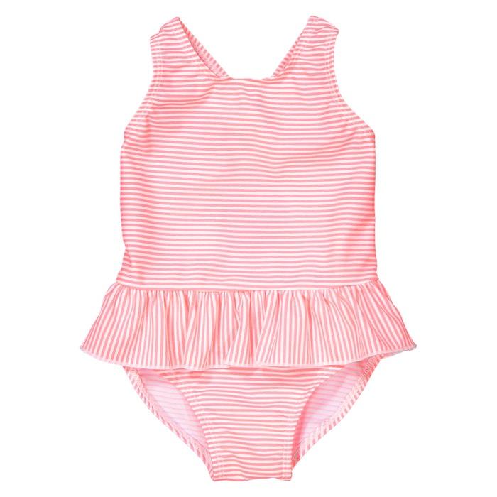costume intero con volant da 3 mesi a 3 anni rigato rosa