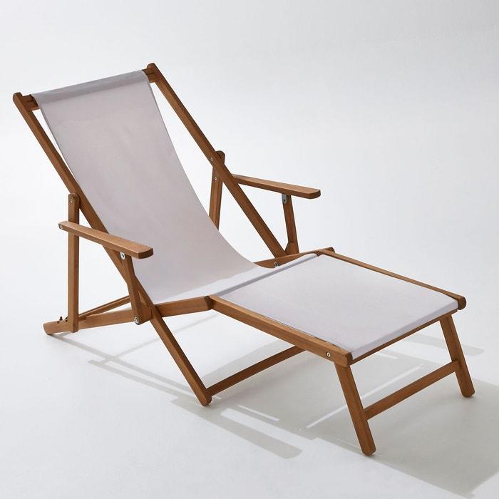 Chaise longue acacia et toile, Amezza  La Redoute Interieurs image 0