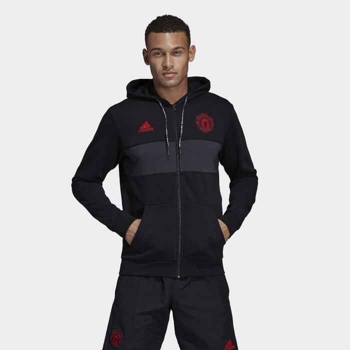 À Sweat Zippé Noir United Performance Logo Manchester Capuche Adidas 4r5rq