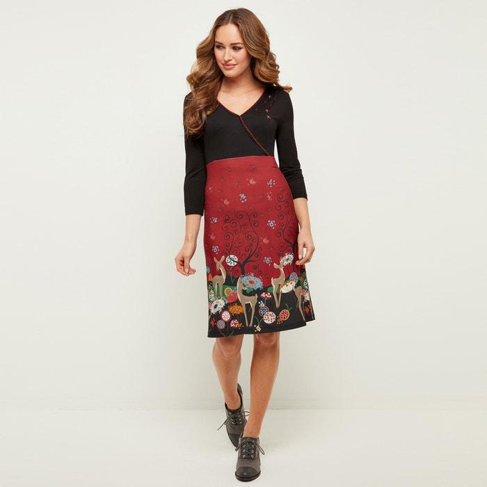 Платье с V-образным вырезом, рисунок по низу, рукава 3/4  JOE BROWNS image 0