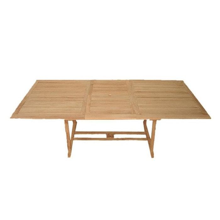 Table de jardin extensible rectangulaire en bois de teck massif  200/300x120cm SUMMER 14 personnes