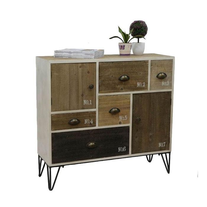 buffet commode en bois patchwork pieds m tal 90x33x85cm lazuro bois naturel pier import. Black Bedroom Furniture Sets. Home Design Ideas