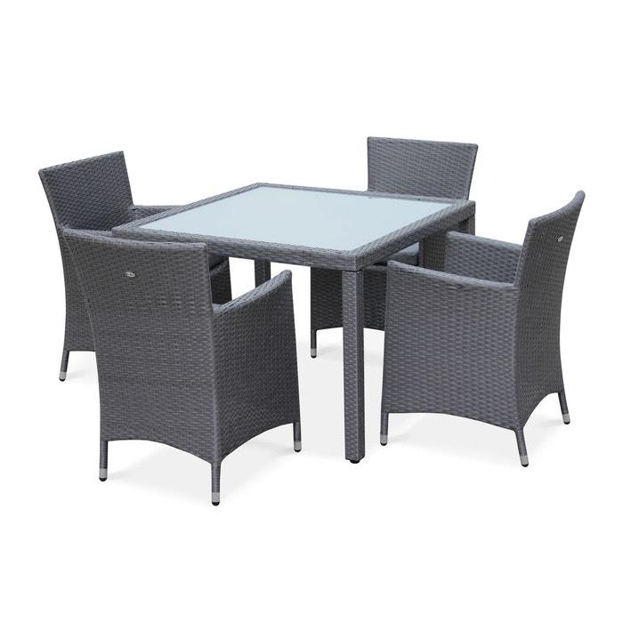 Salon de jardin en r sine tress e gris 4 fauteuils table 100cm structure e - La redoute salon de jardin ...